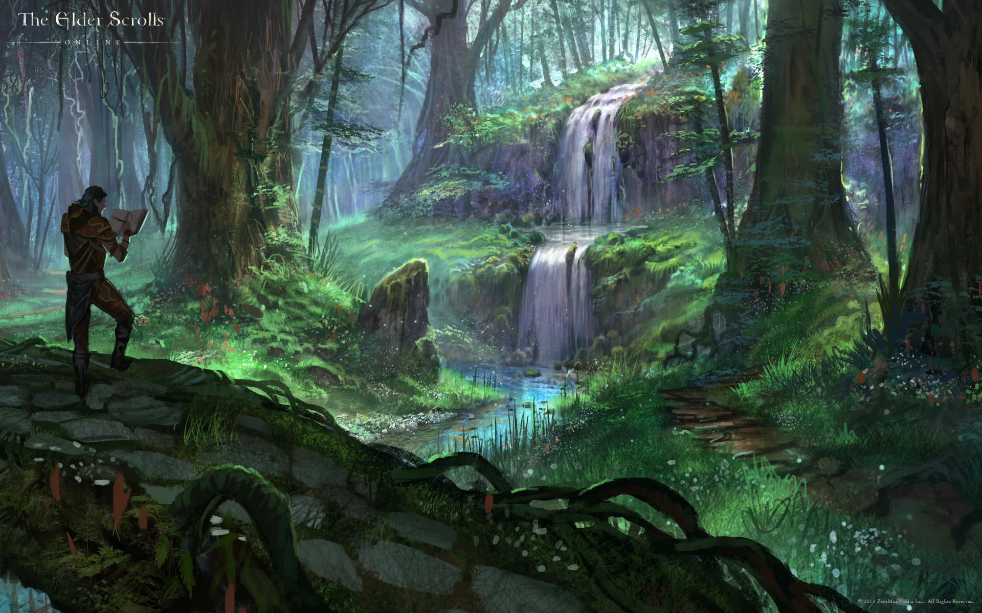 Wallpaper The Elder Scrolls Online: Secluded Waterfall in Grahtwood