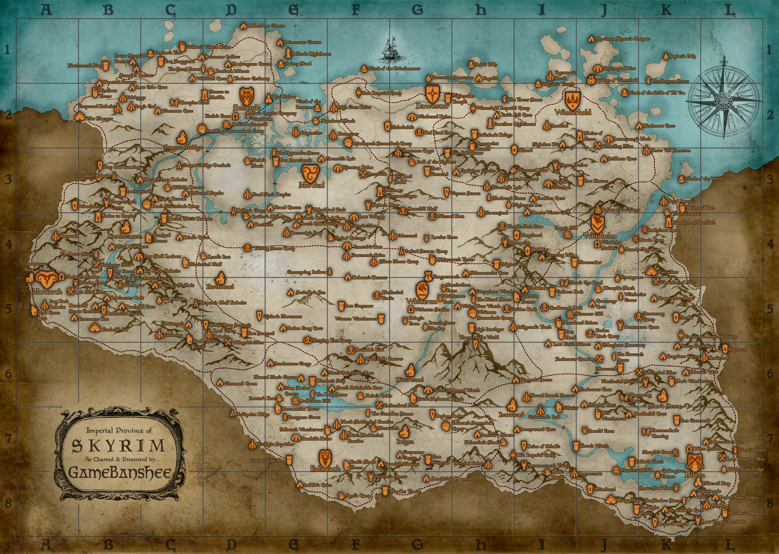 The Elder Scrolls V: Skyrim wallpaper map