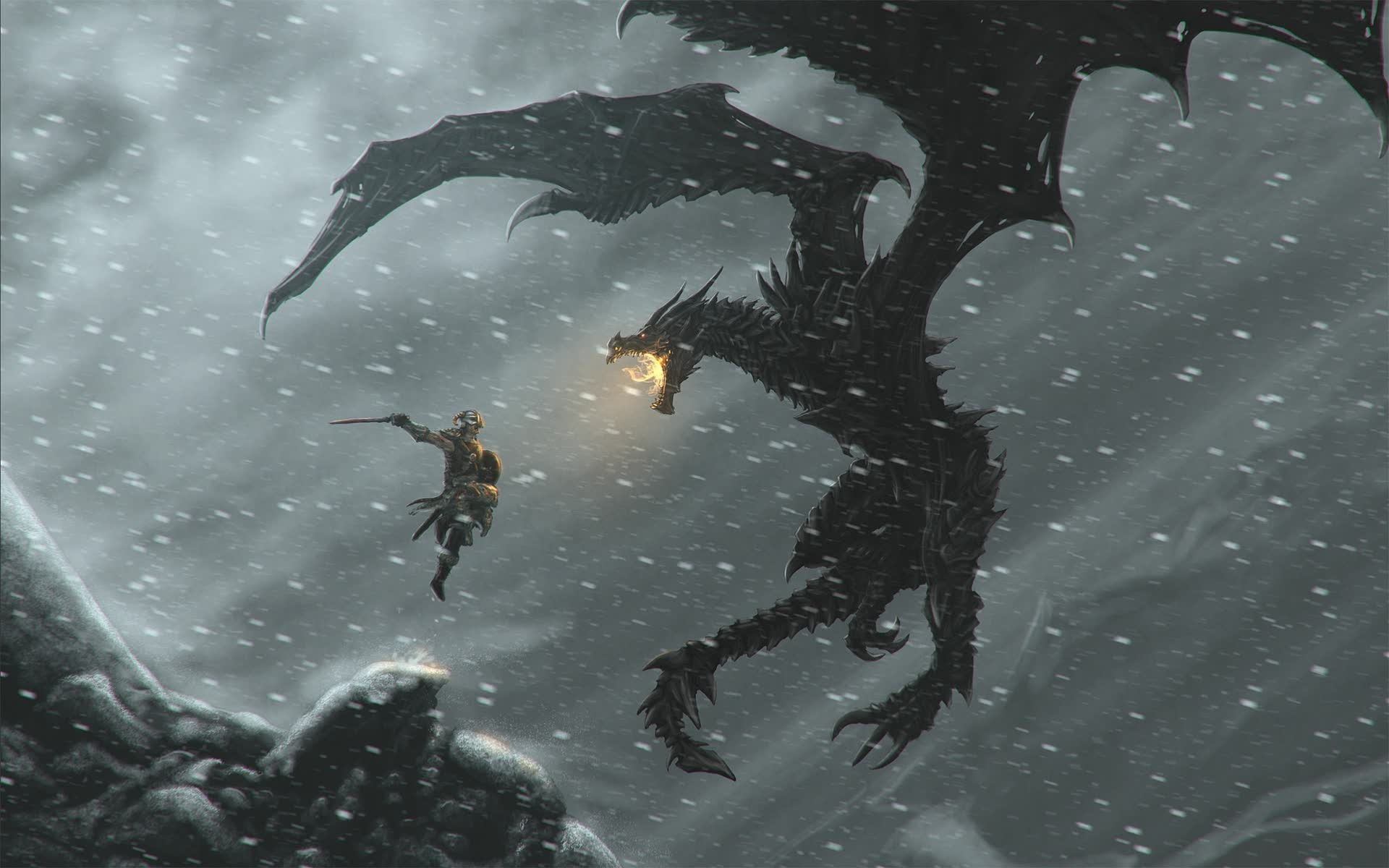 Wallpaper The Elder Scrolls V: Skyrim dragon and warrior