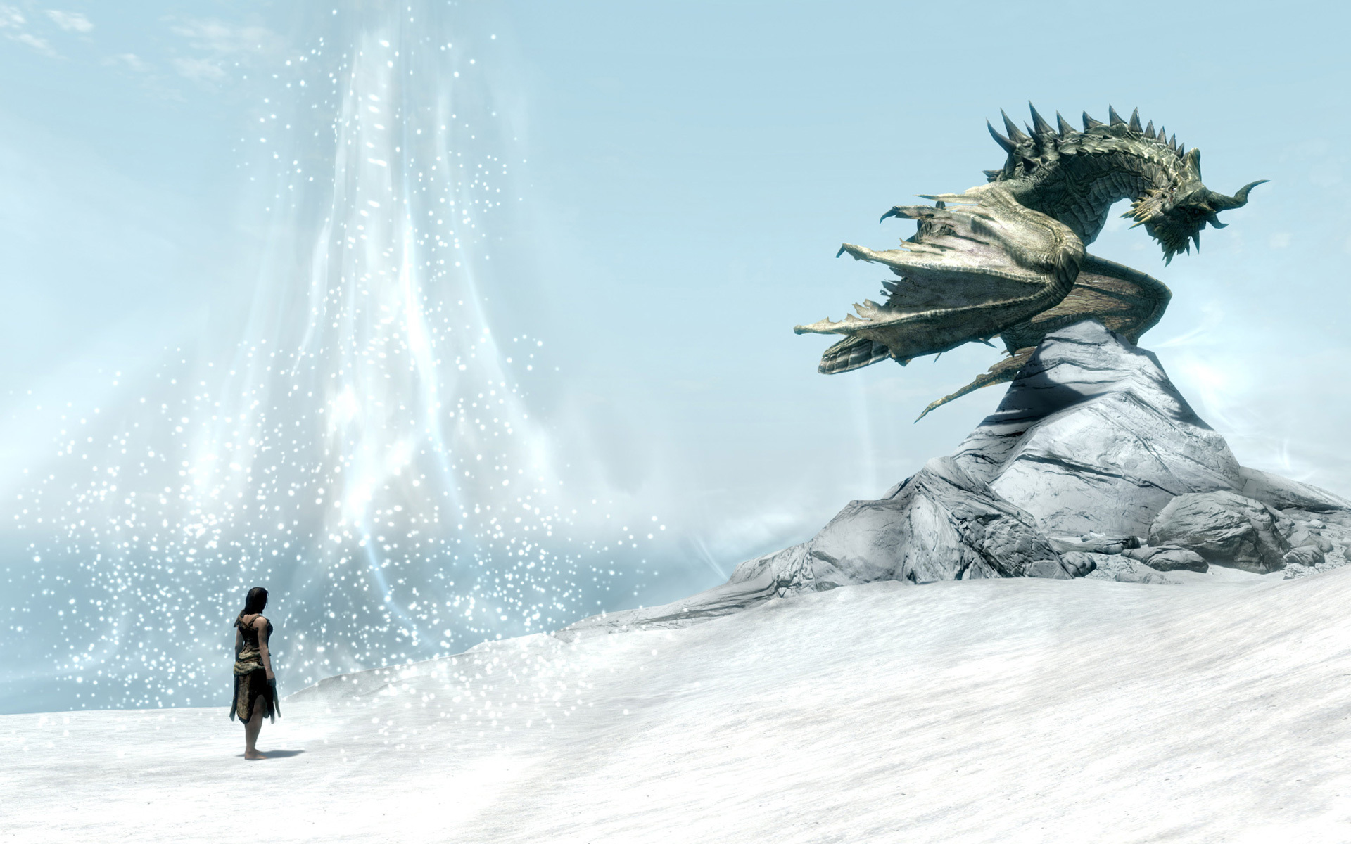 Wallpaper The Elder Scrolls V: Skyrim dragon and snow