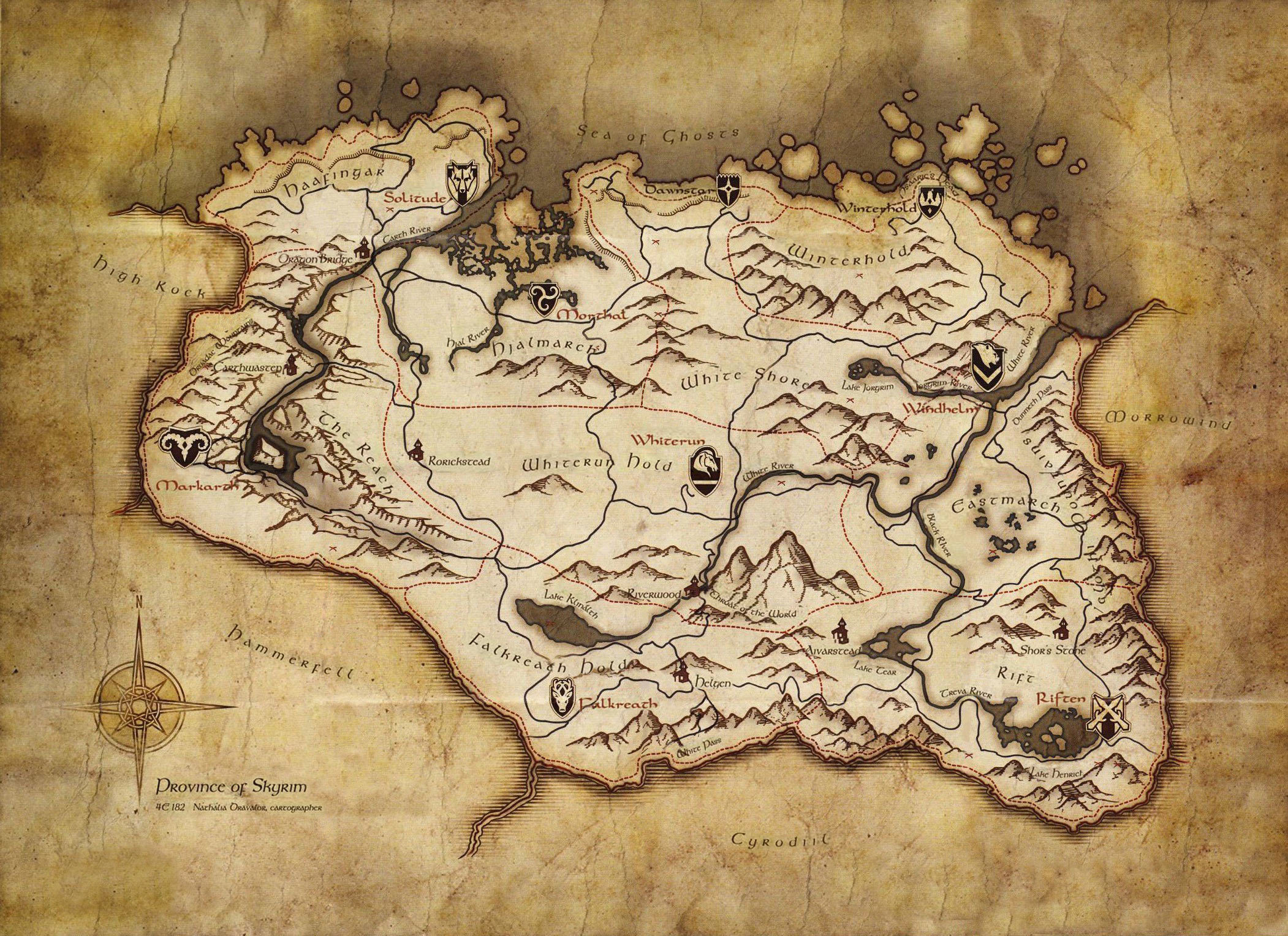 Wallpaper The Elder Scrolls V: Skyrim Province of Skyrim Map