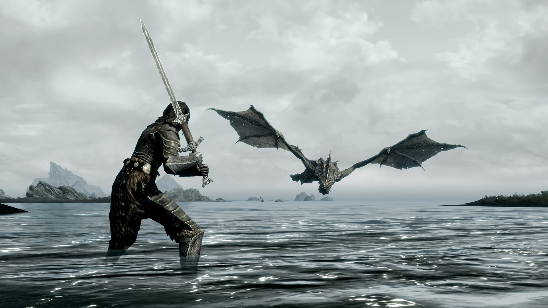Wallpaper The Elder Scrolls V: Skyrim Warrior in the water and the dragon