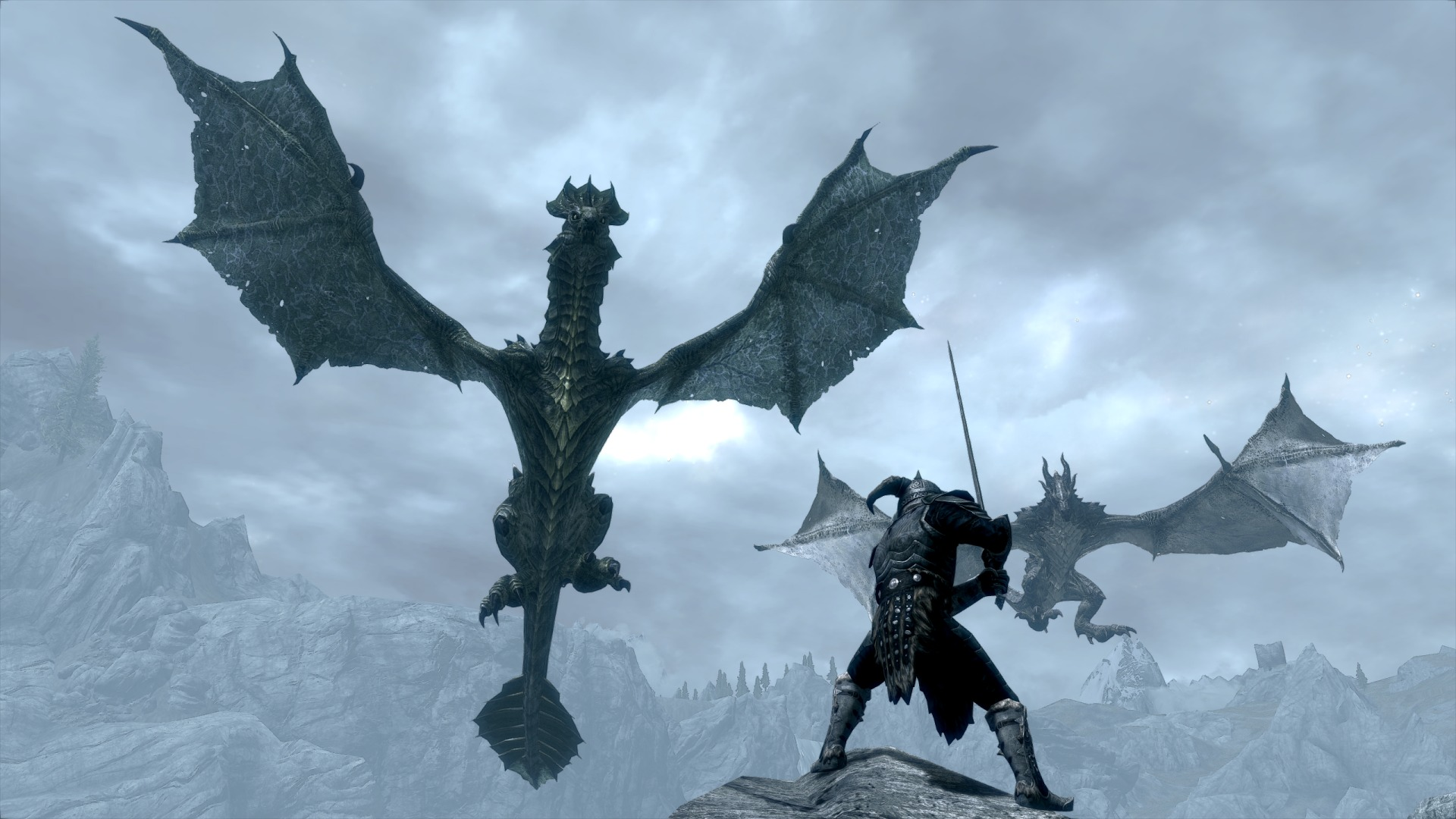 Wallpaper The Elder Scrolls V: Skyrim two dragon and warrior