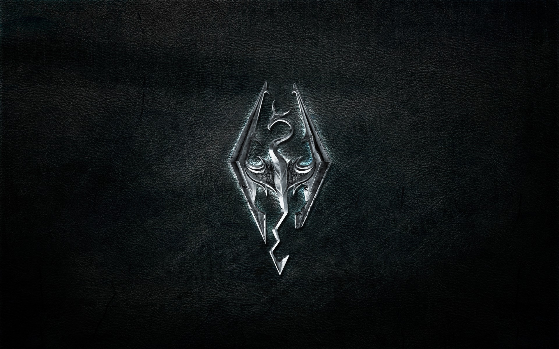 Wallpaper The Elder Scrolls V: Skyrim logo on leather