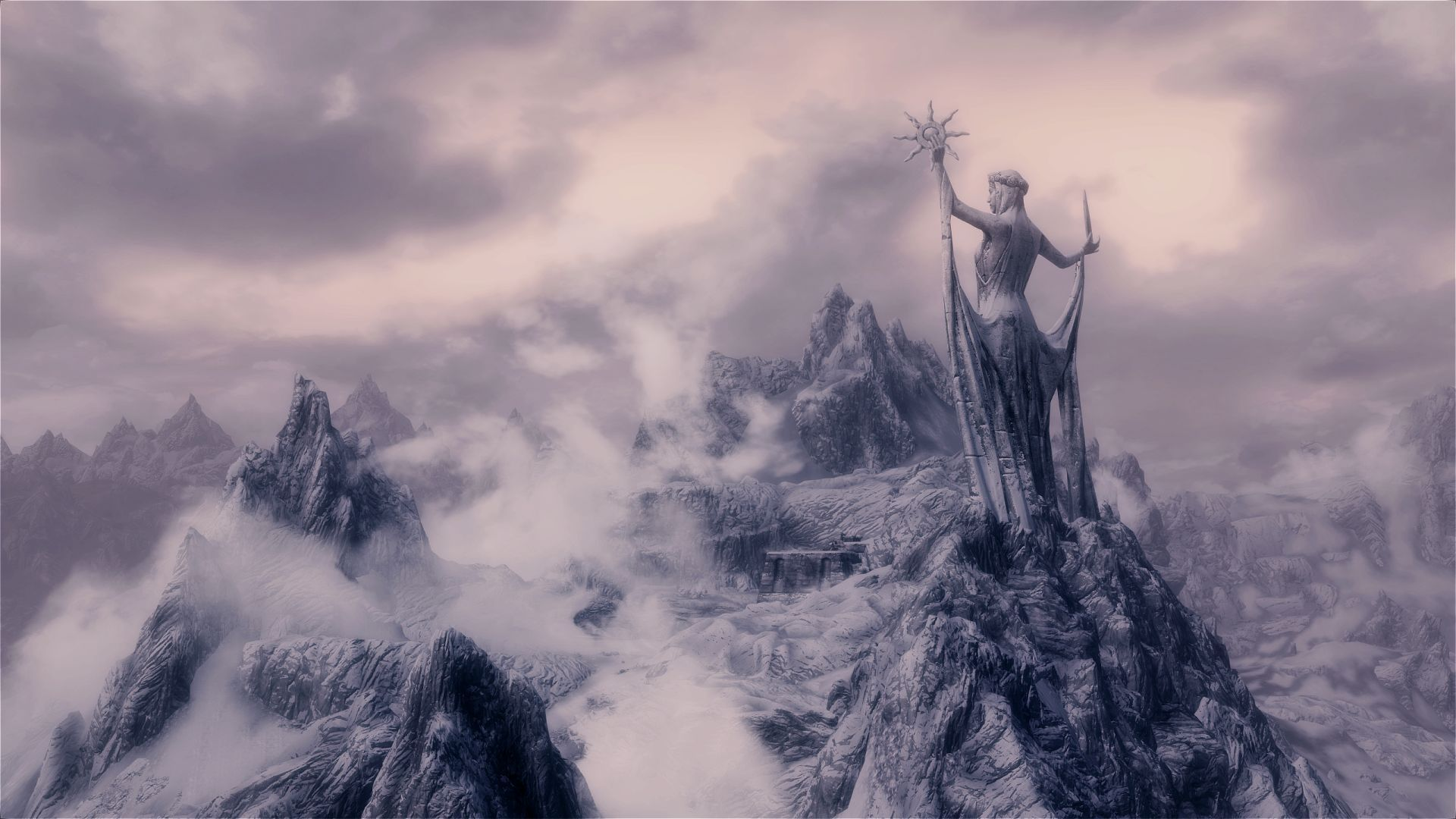 Wallpaper The Elder Scrolls V: Skyrim Statue on the mountain