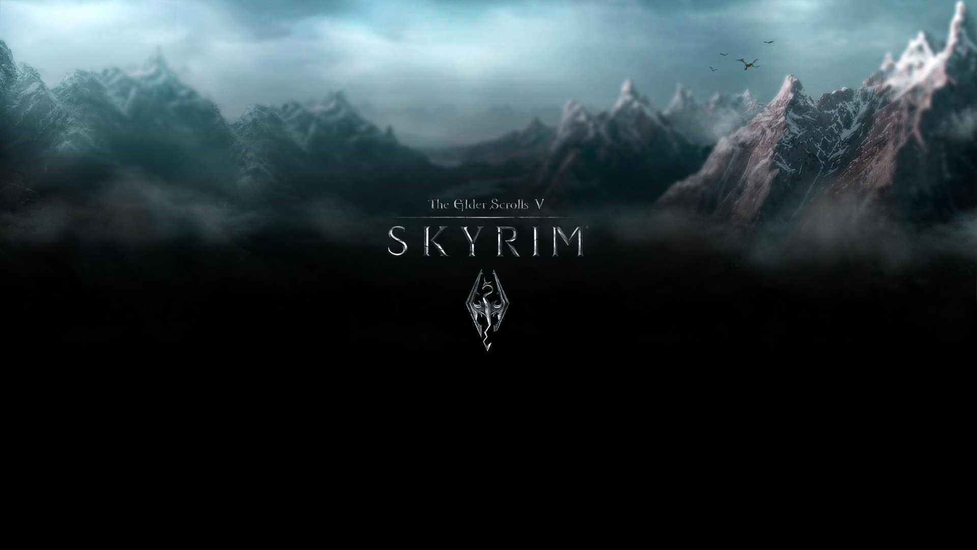 Wallpaper The Elder Scrolls V: Skyrim logo and mountains