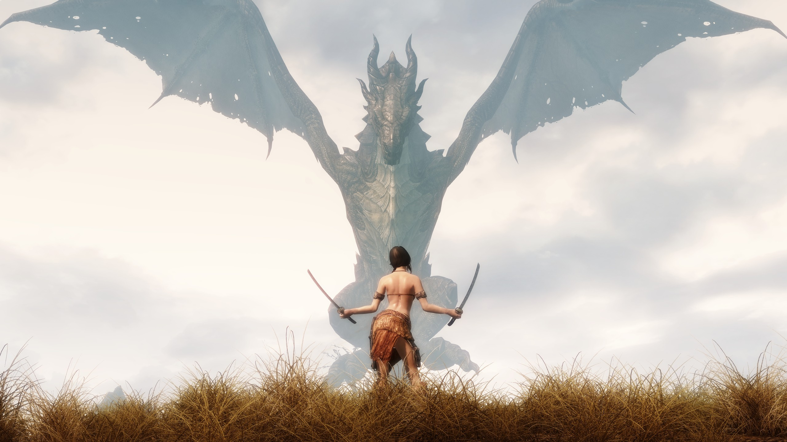 Wallpaper The Elder Scrolls V: Skyrim girl and dragon