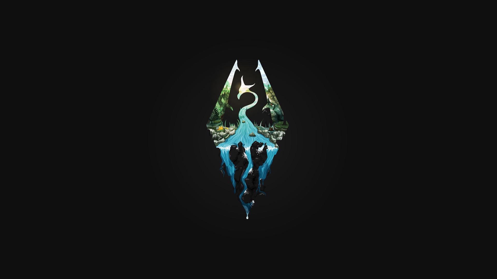 Wallpaper The Elder Scrolls V: Skyrim dragon logo