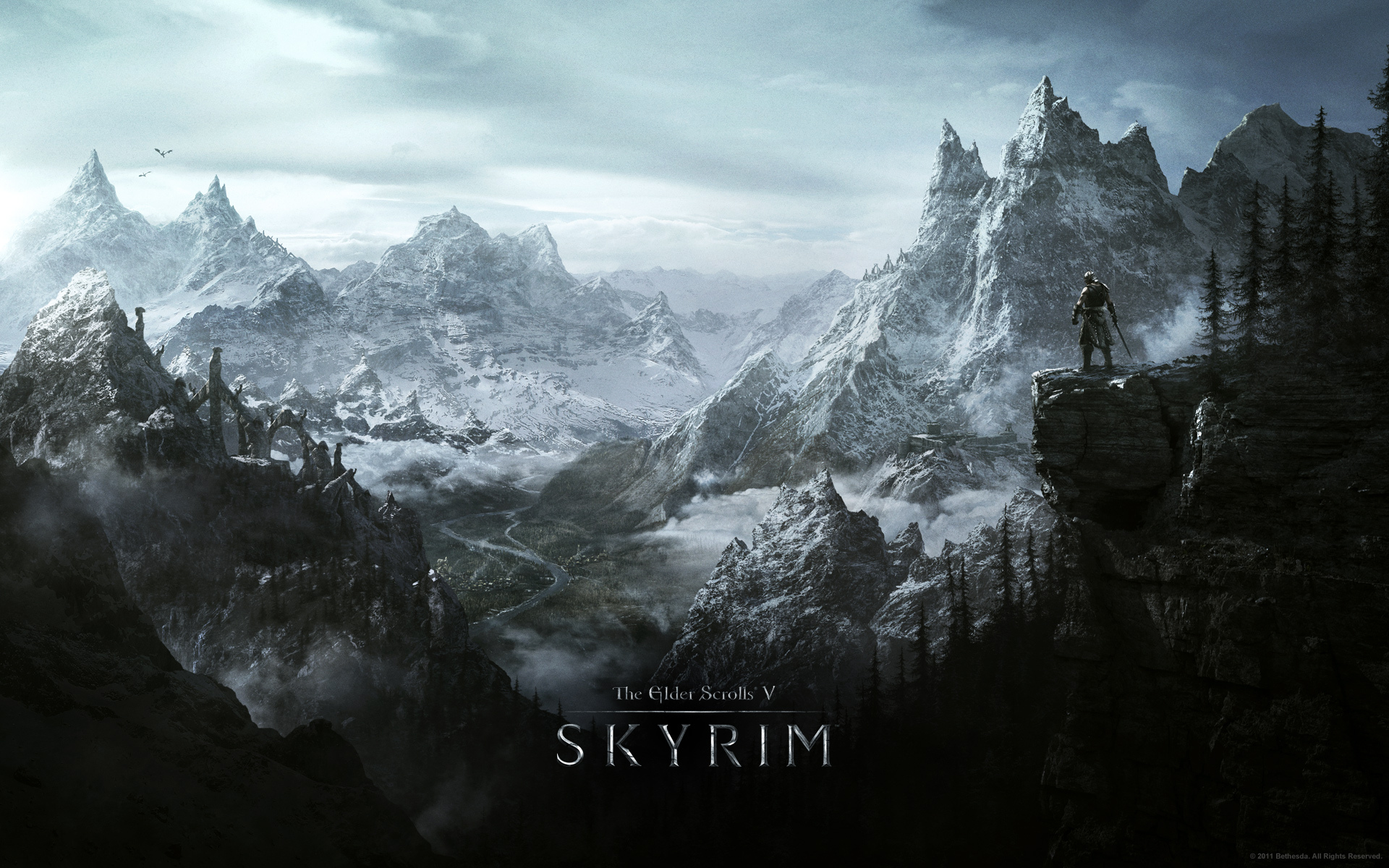 Wallpaper The Elder Scrolls V: Skyrim warrior on the mountain