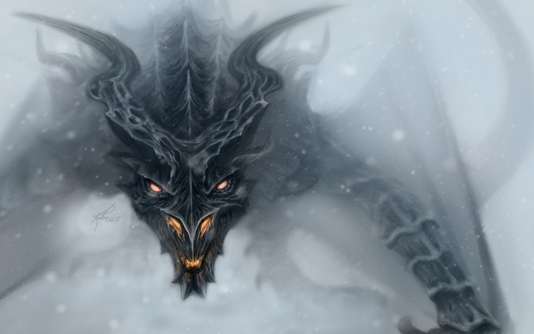 Wallpaper The Elder Scrolls V: Skyrim dragon