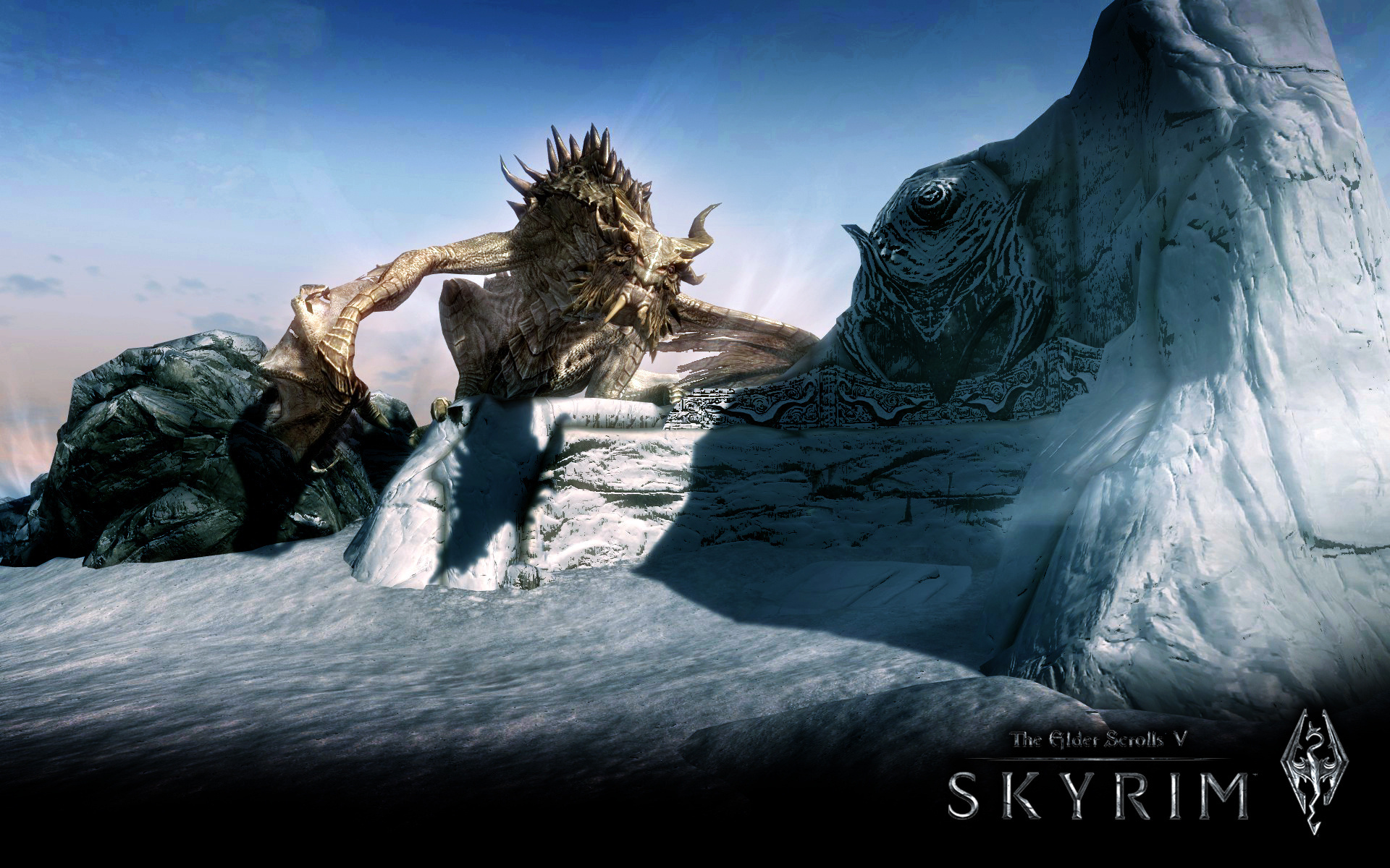 Wallpaper The Elder Scrolls V: Skyrim dragon in the mountains