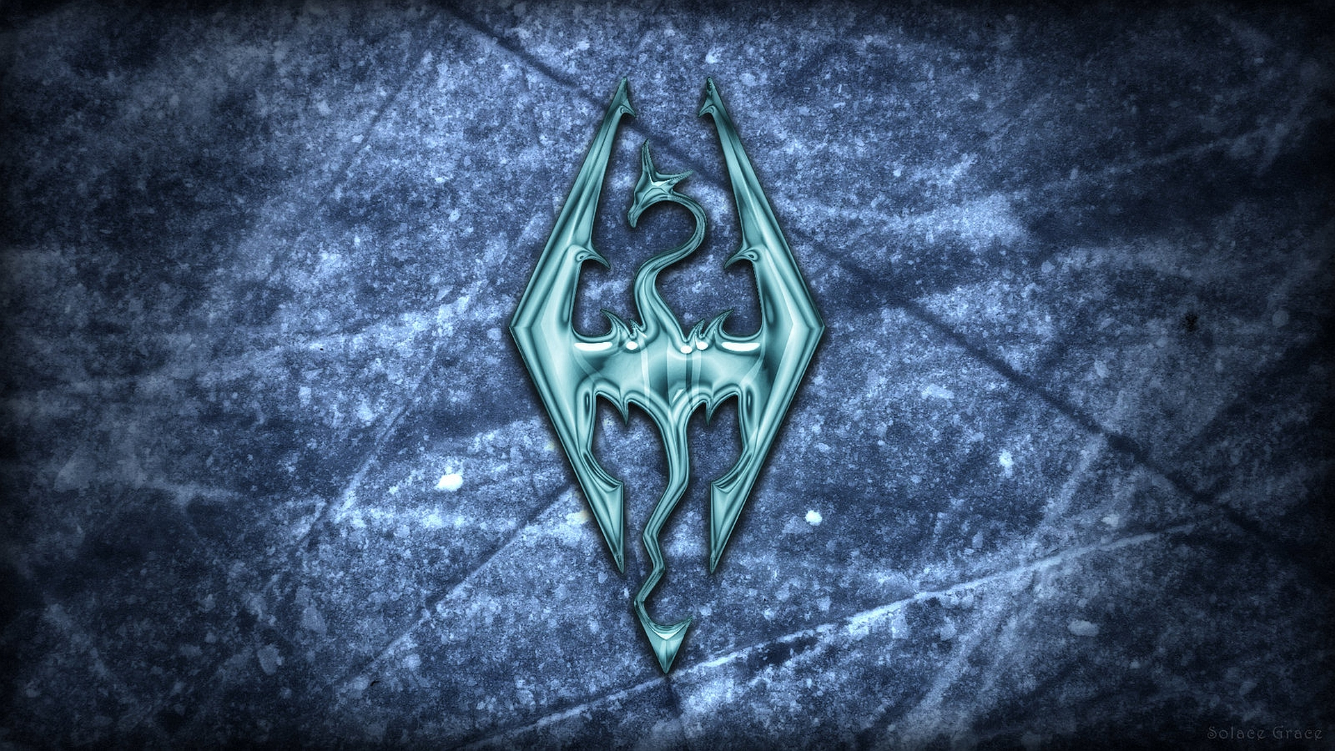 Wallpaper The Elder Scrolls V: Skyrim logo on the ice