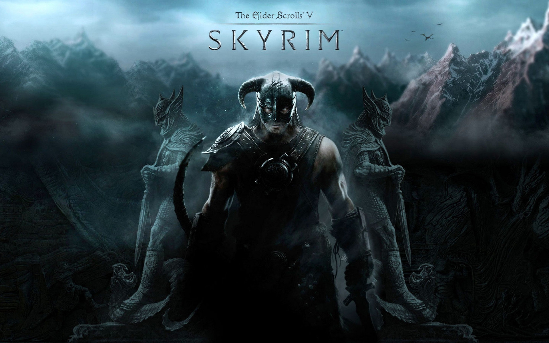 Wallpaper The Elder Scrolls V: Skyrim warrior and statues
