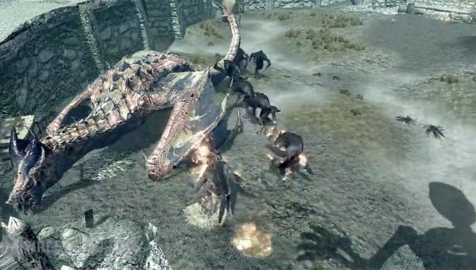 TES 5 Skyrim Ancient Dragon vs Dremora, Werewolves and Trolls (Video)